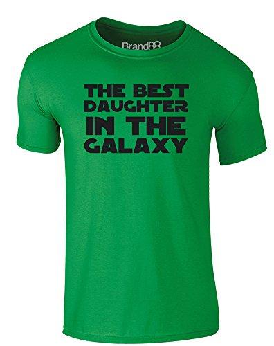 Brand88 - The Best Daughter in the Galaxy, Erwachsene Gedrucktes T-Shirt Grün/Schwarz