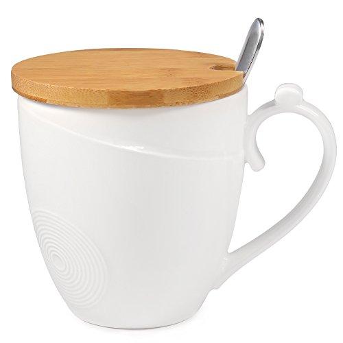 Kaffee Becher mit Deckel und Löffel, 77L Kaffeebecher aus Keramik mit Deckel aus Bambus und Löffel – Keramik Milch, Tee Tassen-Set mit Löffel und Deckel für Home Office Coffee Mug with Lid and Spoon, 350 ML