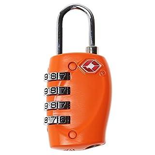 A-szcxtop 4-Dial TSA Combination Padlock Luggage Suitcase Bag Travel Security Lock - Orange