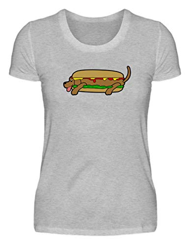 Hot Dog in Tutti I Sensi - Maglietta T-Shirt Donna -L-Grigio Erica