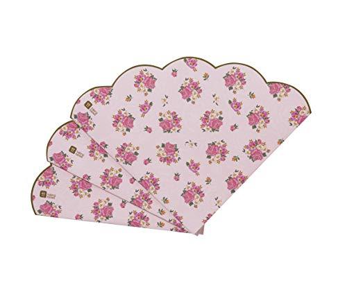 Talking Tables Truly Scrumptious; Muschelkantige Servietten mit Blumenmotiv für Teekränzchen, Hochzeiten und Geburtstagspartys, Pink (20 pro Pack) Pink Floral Gold Trim
