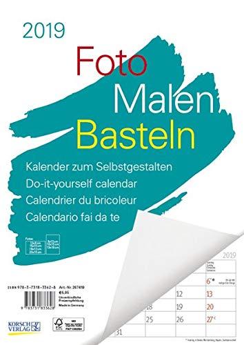 FMB weiß Notice A4 267419 2019: Bastelkalender zum Selbstgestalten. Edler Fotokalender mit festem Fotokarton und Platz für Geburtstage/Notizen Do-it-yourself!