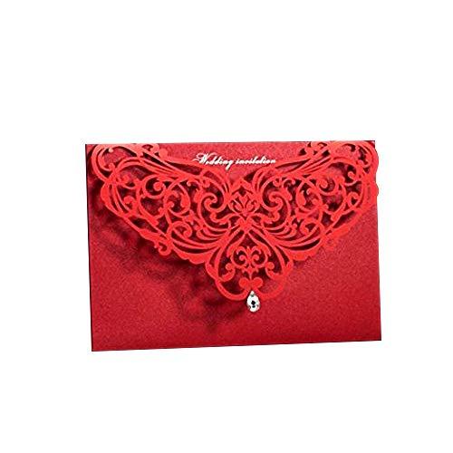 PONATIA 25 Stücke Stück rot weiß Laser Blume mit Diamant Design Hochzeit Einladung Karten mit Hohl Flipstyle Hochzeit Brautschmuck Dusche Einladung Baby Dusche Verlobung Geburtstag Graduation Einladung Karten rot