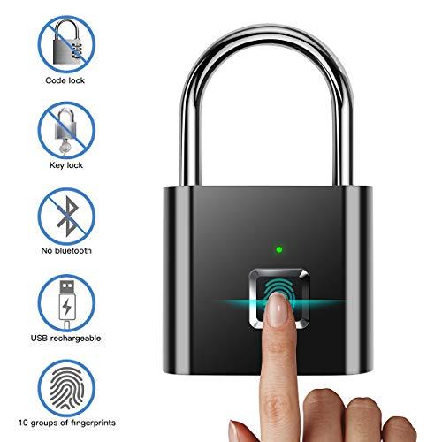 Cerradura de huellas digitales,Candado de Puerta/Cerradura Cifrado/cerradura electronica Carga USB Impermeable...