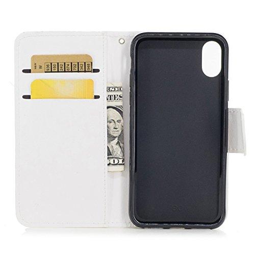 inShang Coque pour iPhone X 5.8 inch housse avec design Wallet intégré, case cover iPhoneX 5.8inch avec fonction de support. white