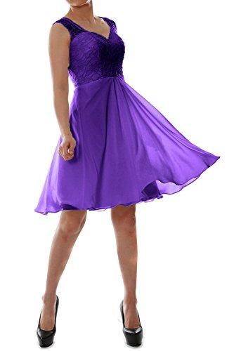 MACloth Women V Neck Lace Chiffon Short Formal Evening Cocktail Party Dress purple
