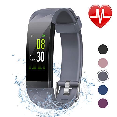 LETSCOM Fitness Armband mit Pulsmesser, Aktivitätstracker Schrittzähler Uhr Smartwatch 0,96 Zoll Farbbildschirm IP68 Wasserdicht und 14 Trainingsmodi, Anruf SMS Nachrichten für iOS Android Handy (Tracker Ios)