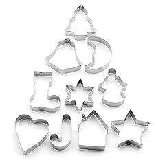 Idea Regalo - YooHome, set di formine per biscotti, 10 formine per biscotti di Natale, stampini per biscotti, fiocchi per pasta di zucchero
