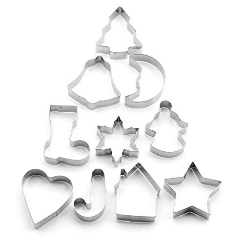 Ausstechformen, yoohome Ausstechformen aus Edelstahl, Ausstechformen Weihnachten für die Kekse, Nudeln, Zucker, die Kuchen und etc, Noël*10
