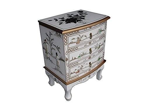 China Warehouse Direct Chinese Oriental Furniture - White Lacquer 3 Drawer Side Chest with Mother of Pearl
