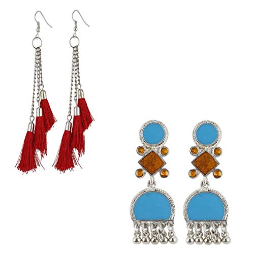 9b210f25e34d Fashion Lightweight Hook Dangler Hanging Earring Stud Jewelry Fashionable  with Meena Work and Red Tassels -