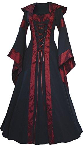 Dornbluth Damen Mittelalter Kleid Maria (40/42 kurz, Schwarz-Bordeaux)