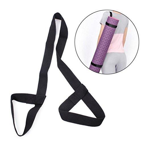 r Bügel, justierbare Baumwolle-Yoga-Matten-Riemen-Gurt-Schultergurt für Gymnastik-Sport-Übung (Schwarz) (Yoga-matte Bügel)
