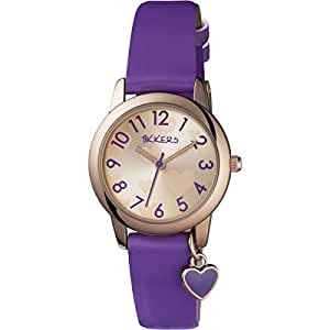 Tikkers girl 39 s quartz watch with gold dial analogue display and purple imitation leather strap for Dovoda watches