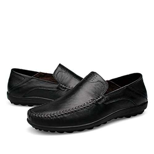 Minitoo Boys Mens Solid Classic Slip-Ons Casual Penny Loafers Black