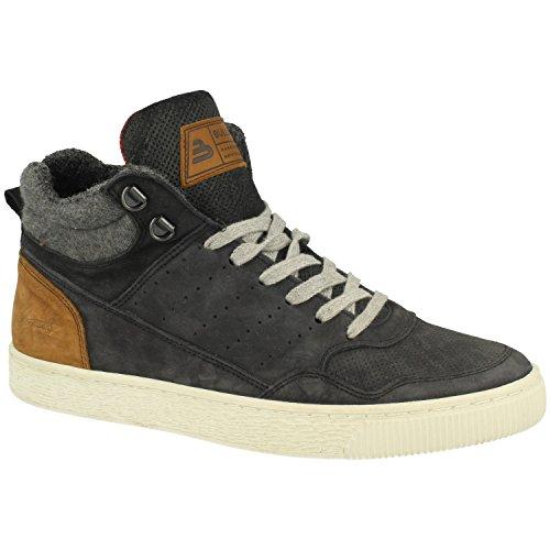 BULLBOXER Herren High-Top Sneaker 648K56909,Männer Stiefel,Sportschuh,Schnürschuh,Sneaker-Stiefel,mid Cut,Black,EU 44