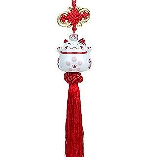 AUFODARA Maneki Neko - Feng Shui japanese Lucky Cat Hanging Pendant - porcelain figurine and lucky charm (Red)