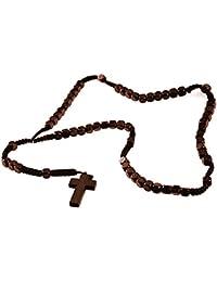 Rosario de madera marrón con perlas DonDon