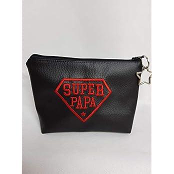 Kosmetiktasche Super Papa Schminktasche Utensilientasche Kleinigkeiten Tasche mit Anhänger Vatertag