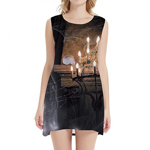 GYYWAN Schädel Dressesfor Frauen Halloween Kleid 3D Spinnennetz Horror Print Kleid Kurze Büro Cosplay Vintage Damenbekleidung Neu