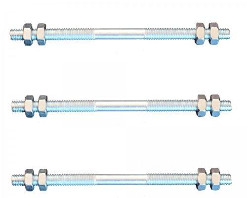 Preisvergleich Produktbild FKAnhängerteile 3 Stück Gewindestange M6 Rechts - Links Gewinde 300 mm + 12 Muttern