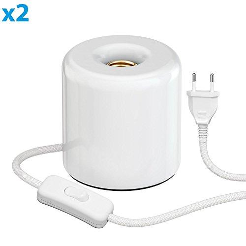 ledscom.de Tischleuchte TIPO mit E27 Lampen-Fassung Porzellan rund weiß, 2 STK. -