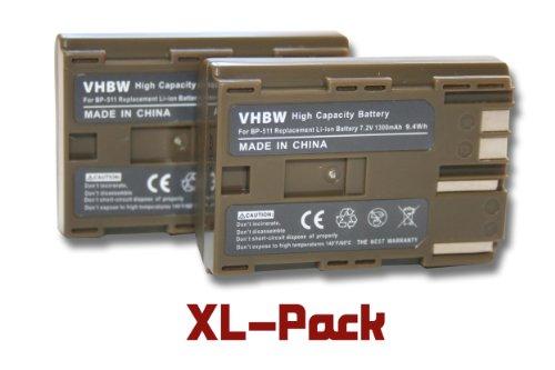 2X vhbw Akku 1300mAh (7.2V) Akku für Canon EOS-, FV-, Media-, MVX-, Optura-, Powershot-, ZR-Serie wie BP-508, BP-511, BP-512, BP-514, BP-522, BP-535 -