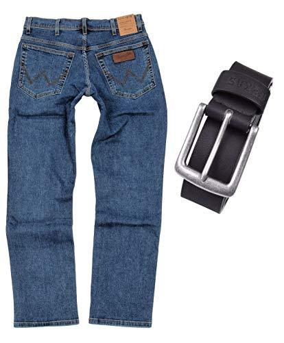 Wrangler TEXAS STRETCH Herren Jeans Regular Fit inkl. Gürtel (W38/L32, Stonewash)