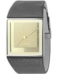 Philippe Starck PH5018 - Reloj unisex de cuarzo, correa de piel color negro