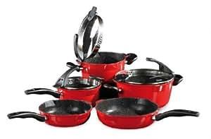STONELINE FUTURE Batterie de cuisine 8 pièces en rouge