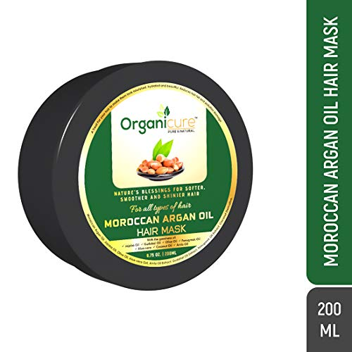 Organicure Argan Oil Hair Mask Cream For Dry, Damaged And frizzy Hair   Deep Conditioning Oils of Jojoba, Coconut & Fenugreek with Herbal Extracts   Men & Women   200 Ml