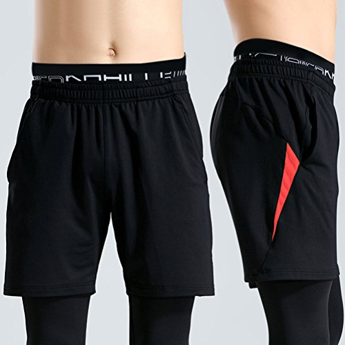 Zhhlaixing Fashion Mens Sports Shorts Breathable Quick Dry Fitness Workout Shorts Black&Red