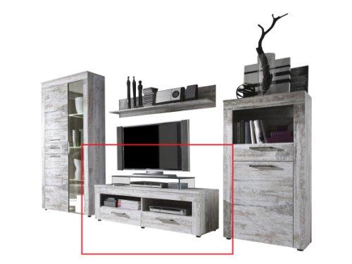 trendteam RV31868 TV Möbel Lowboard weiss Canyon Pinie Shabby Chic Retro Nachbildung, BxHxT 135x45x50 cm - 2