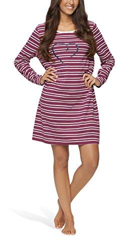 Moonline - Damen Nachthemd kurz Sleepshirt Nachtkleid aus 100% Baumwolle von Größe S - 4XL, Größe:44/46, Farbe:beere