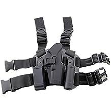 haoYK Ajustable Táctico Airsoft Pistola Gota Bolsa Holster Bolsa muslo Derecha Holster con compartimiento Bolsa Antorcha para Glock 17 19 22 23 31 32 (Negro)