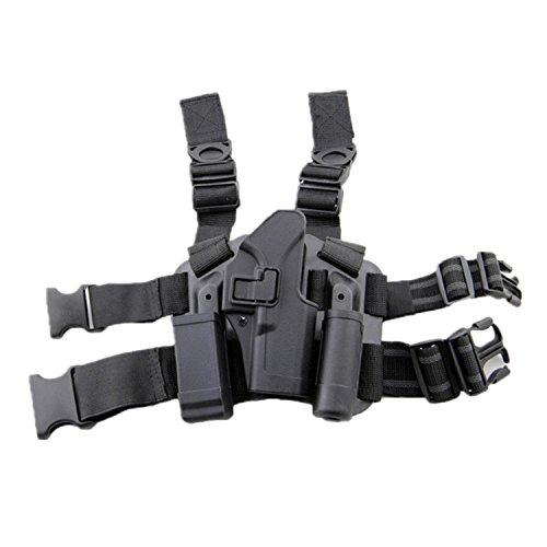 haoYK Einstellbare Tactical Airsoft Pistol Drop Bein Holster Tasche Oberschenkel Rechten Bein Holster mit Magazin Taschenlampe Beutel für Glock 17 19 22 23 31 32 (Schwarz) Glock 23 Magazin-holster