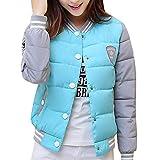 Damen Kurze Daunenjacke mit Rundhals Gepolsterte Baseball Jacke Bomberjacke Warme Winterjacke Himmelblau M