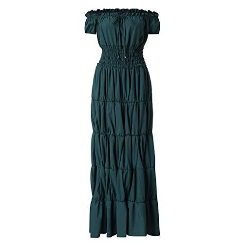 Kostüm Womens Gothic - RYTEJFES Victorian Gothic Dress Nightgown Ladies Medieval Renaissance Costume Halloween Cosplay Kostüm Maxikleid Sexy Trägerlose Schulter Abendkleid