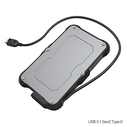 USB 3.1 Gen2 Type C Wasserfestes Festplattengehäuse für 2,5\'\' Festplatte, 10Gbps Externes Festplatten Gehäuse, IPX6 Wasserbeständig, IP6X Military Stoßfest Case - SATA HDD SSD Hard Drive, USB C Kabel