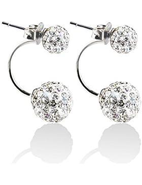 Blingery Damen 925 Silber Fashion Elements Zirkonia Diamant Doppelt Kugel Ohrstecker Ohrringe für Damen Mädchens