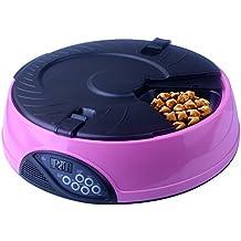 Alimentador de Mascota Automática, Kupet Comedero 6 días para Perro Gato con 4 Temporizador al Día y Grabadora (Rosa)