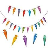 Oblique-Unique Schulanfang Zuckertüten Girlande - Schuleinführung Girlande - Zuckertüte Kinder Schüler Zuckertüten Fest Dekoration - Wunderschöne farbenfrohe Girlande zur Schuleinführung