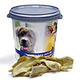 Lyra Pet® 5 kg Rinderkopfhaut 5000 g Hellbraun Kaustangen Hundefutter in 30 L Tonne