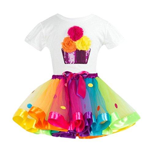 JERFER Rainbow Kostüm Rock Kinder (3T-9T) Mädchen Tutu Tüll Party Tanz Ballett Kinder (Hübscher Tanz Kostüme Für Mädchen)
