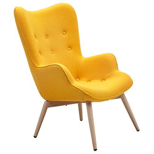 Designer Ohren-Sessel Gelb Wolle