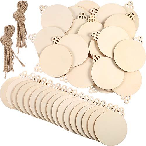 96 pezzi ornamenti in legno incompiuta natale ornamenti in legno da appendere abbellimenti artigianato per diy, natale decorazione da appendere con forme belle (cerchi bianchi)