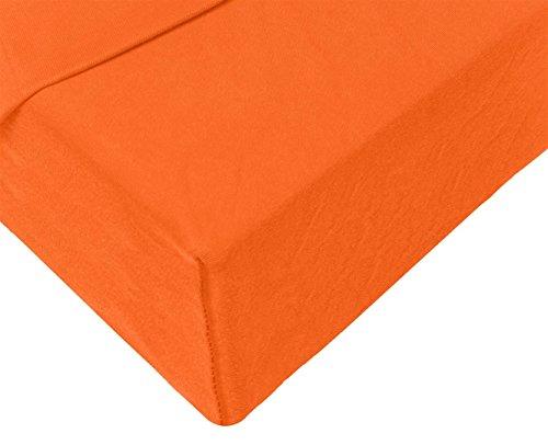 Double Jersey - Spannbettlaken 100% Baumwolle Jersey-Stretch bettlaken, Ultra Weich und Bügelfrei mit bis zu 30cm Stehghöhe, 160x200x30 Orange - 4