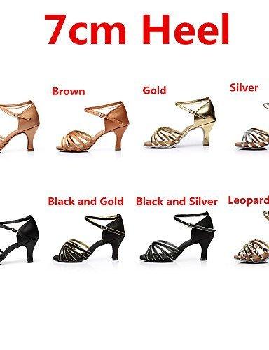 ShangYi Chaussures de danse ( Noir / Marron / Argent / Or / Léopard / Autre ) - Personnalisables - Talon Personnalisé - Satin - Latine / Salsa black and sliver