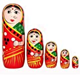 Fashion Bizz Wooden Handmade Crafted Red Color Doll Hand Painted - Nesting Doll - Wooden Decoration Gift Doll - Stacking…
