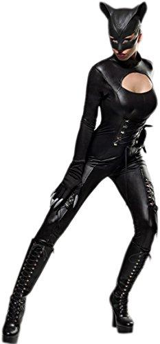(Hot Catwoman Wetlook Komplettset - Overall,Maske und Handschuhe - Karneval Katzen Kostüm (80037) (L-XL))